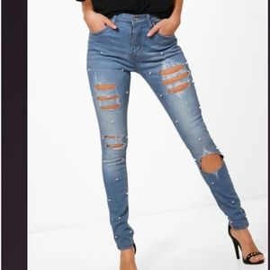 Boohoo pearl embellished ripped jeans Size 2
